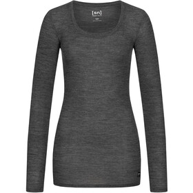 super.natural Rib LS Shirt Women, caviar melange